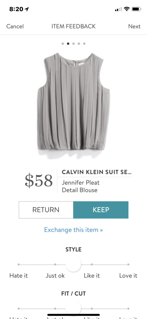 Stitch Fix Calvin Klein Pleated Blouse